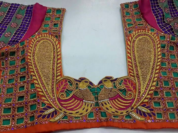 Latest embellished saree blouse designs patterns for Best check designs