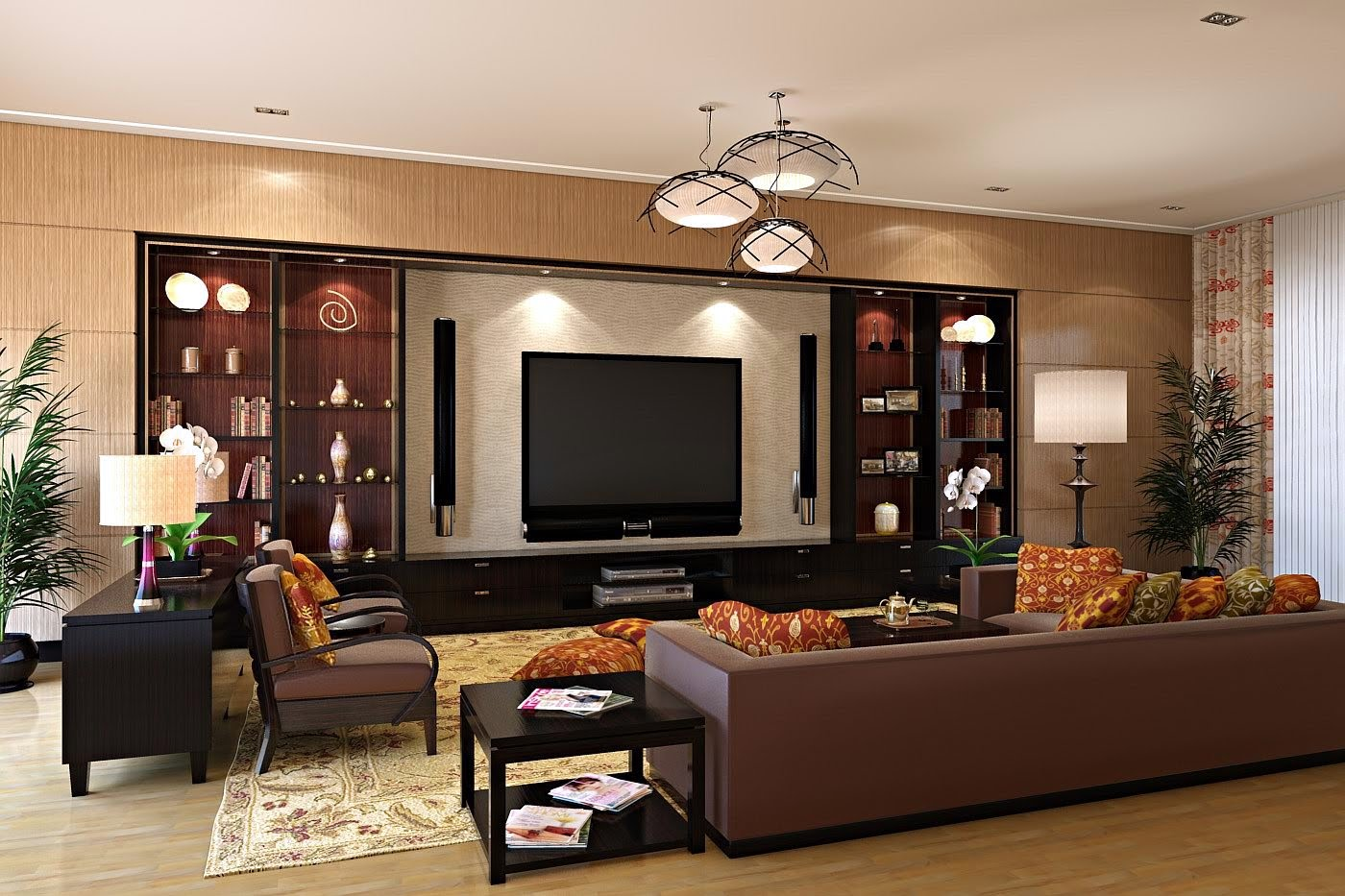 20 modern tv unit design ideas for bedroom living room for Living room designs for big spaces