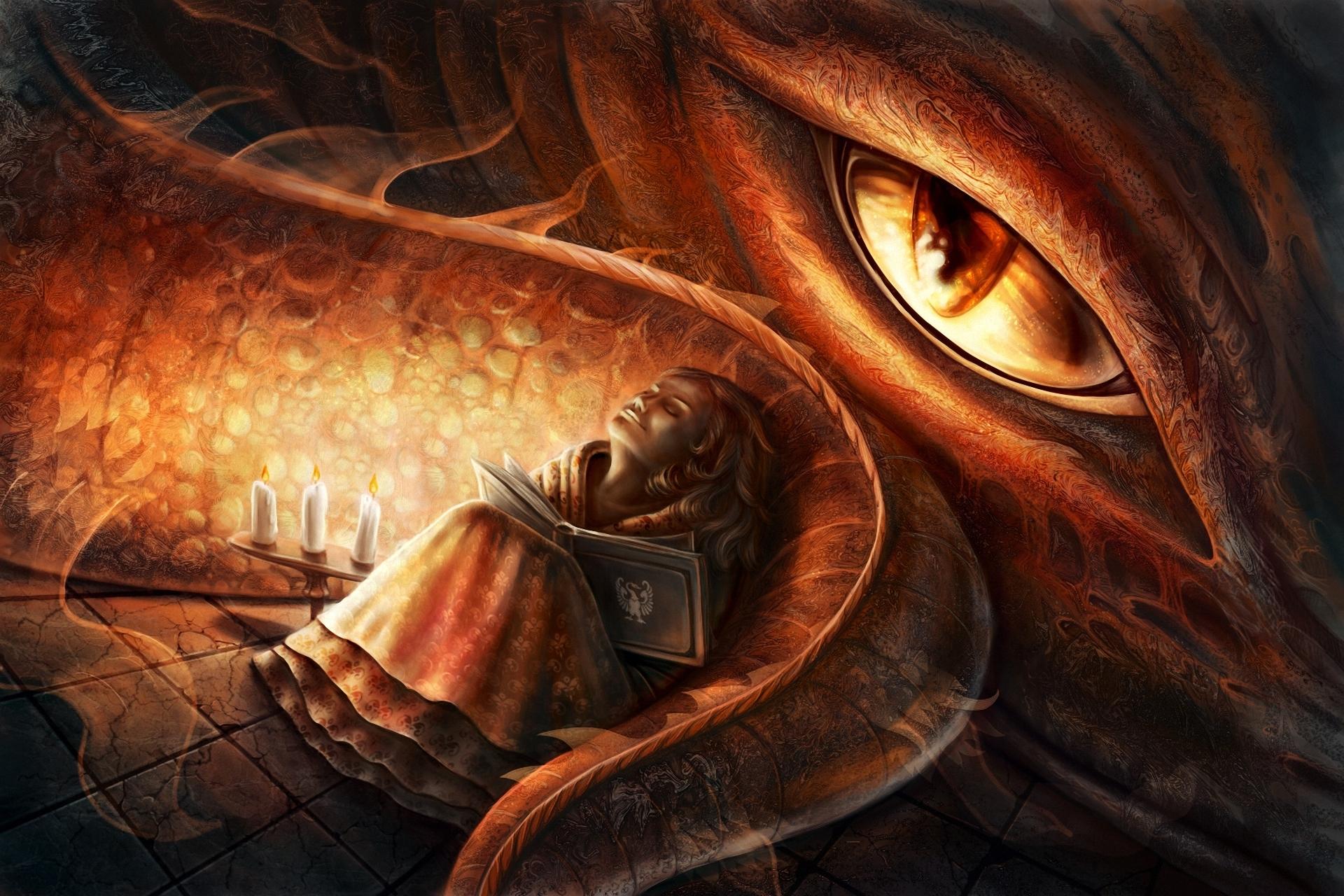 Fantasy girl and dragon eye