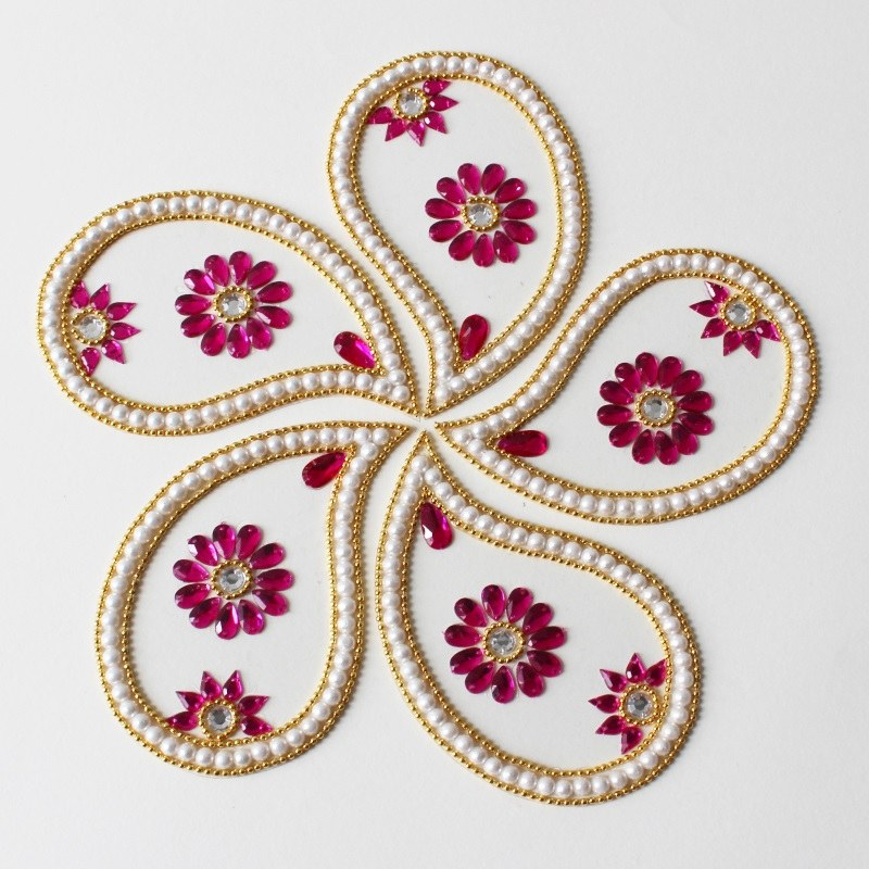 red kundan rangoli design for diwali