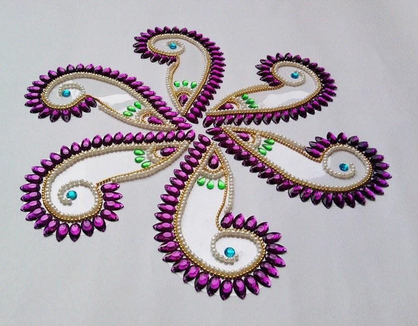padma shape kundan rangoli design