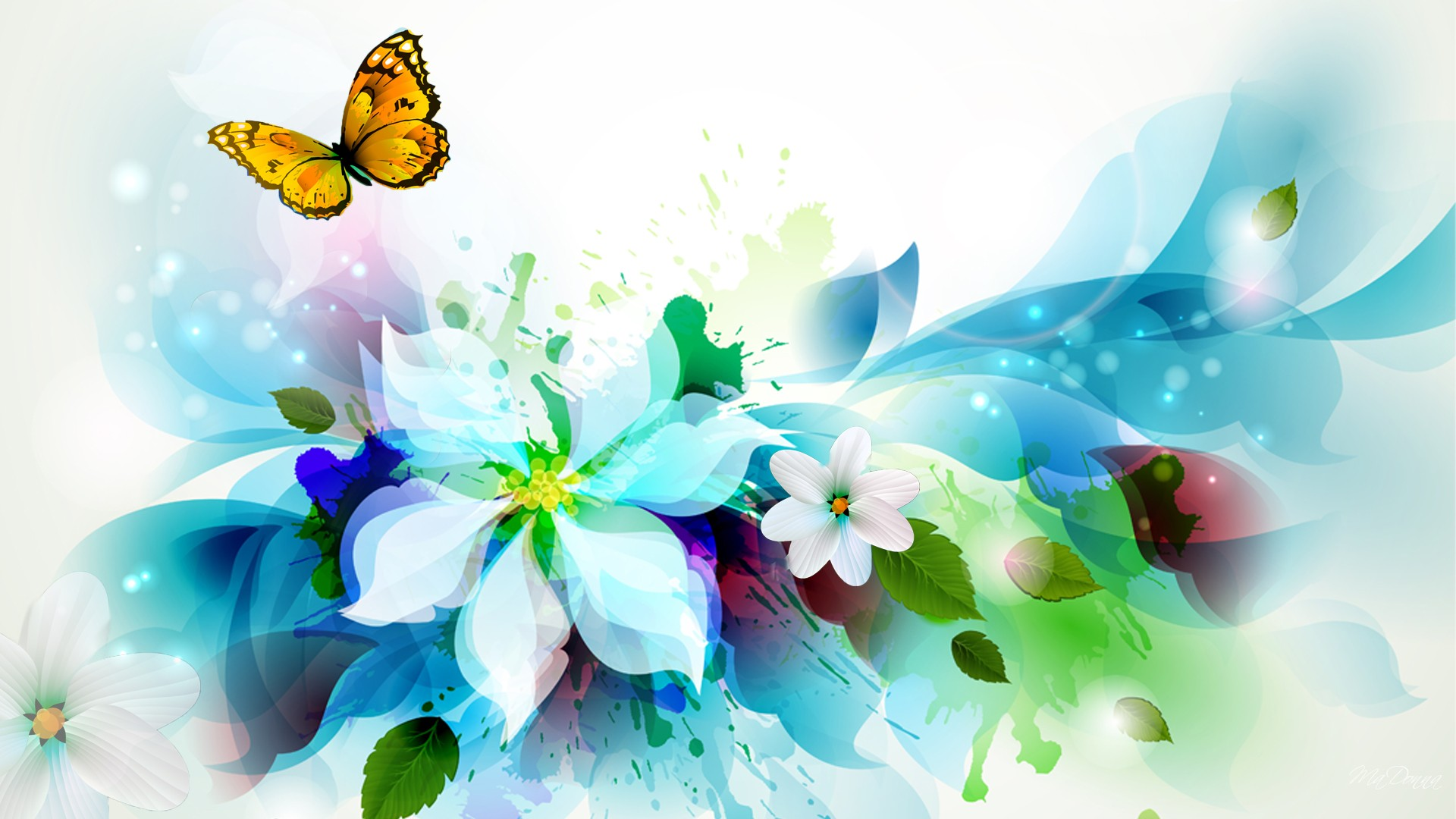 Watercolor Floral Abstract HD Desktop Background