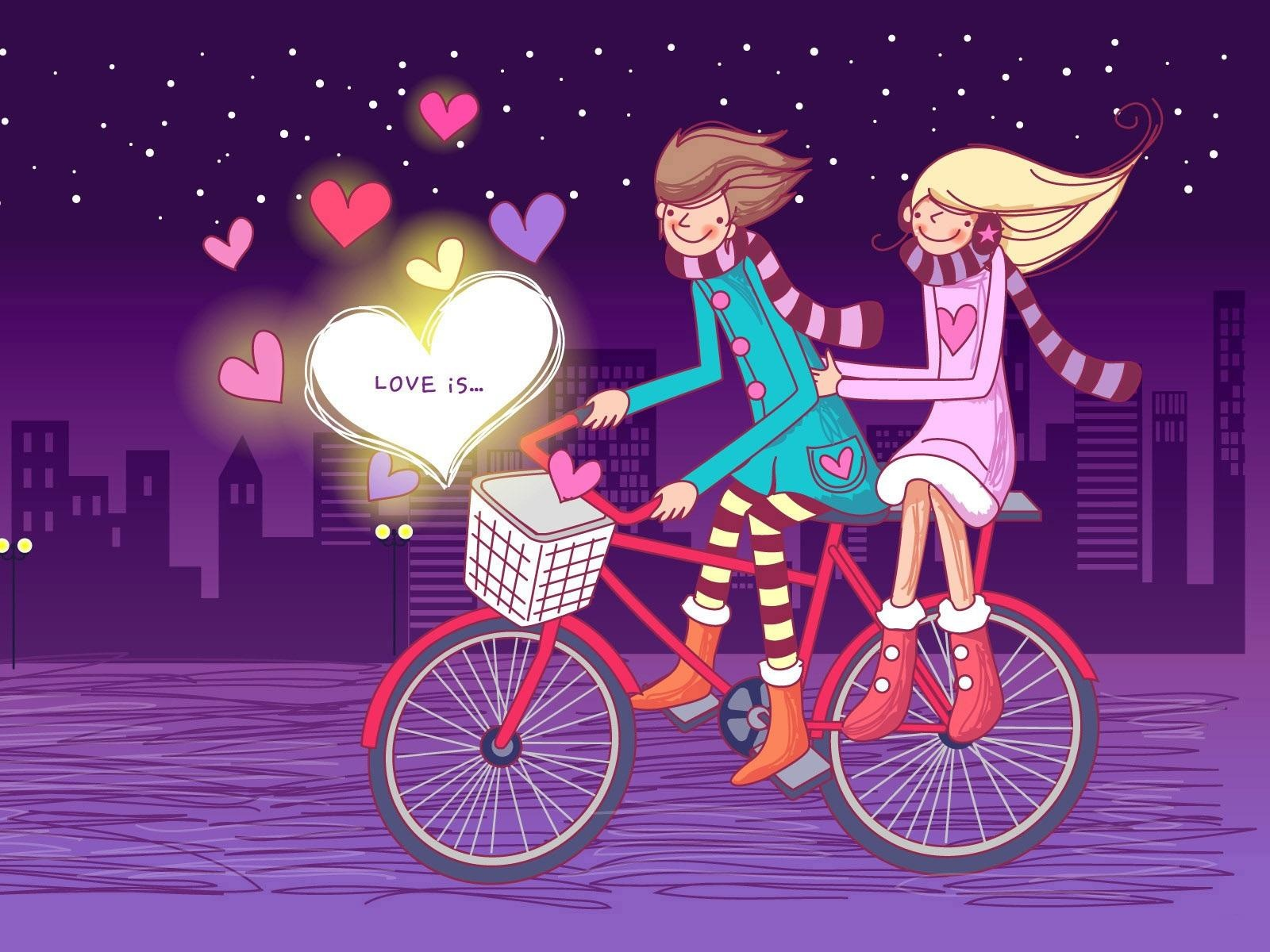 cute romantic lovers on bike