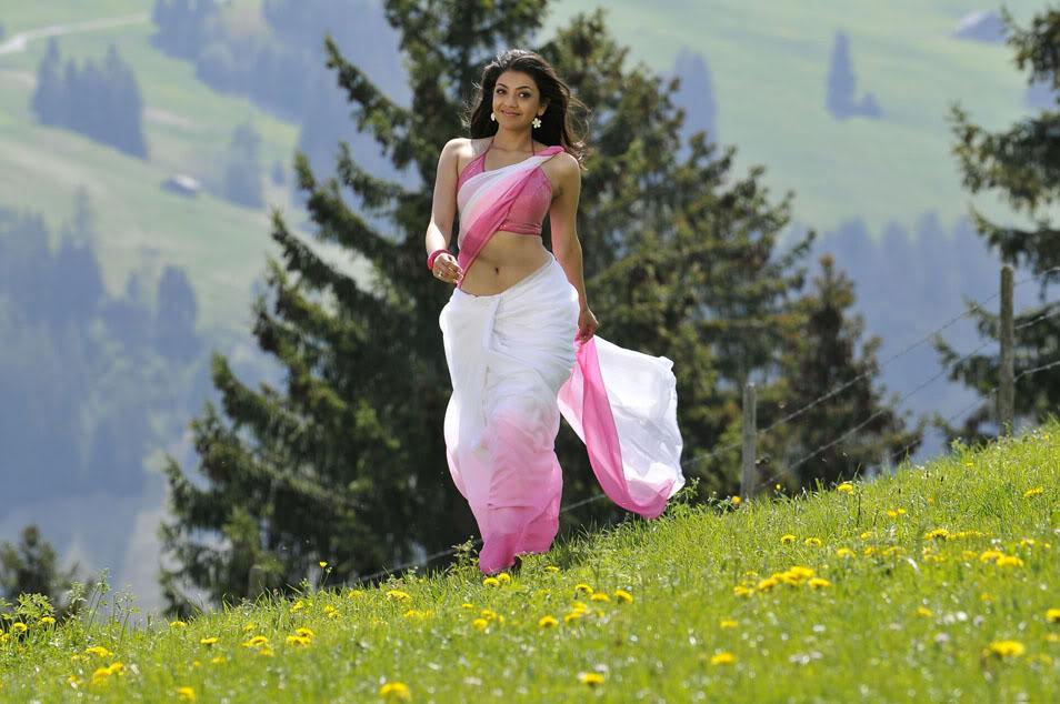 kajal agrawal in pink sari wallpapers