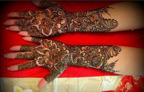 stone trendy mehndi designs for bride