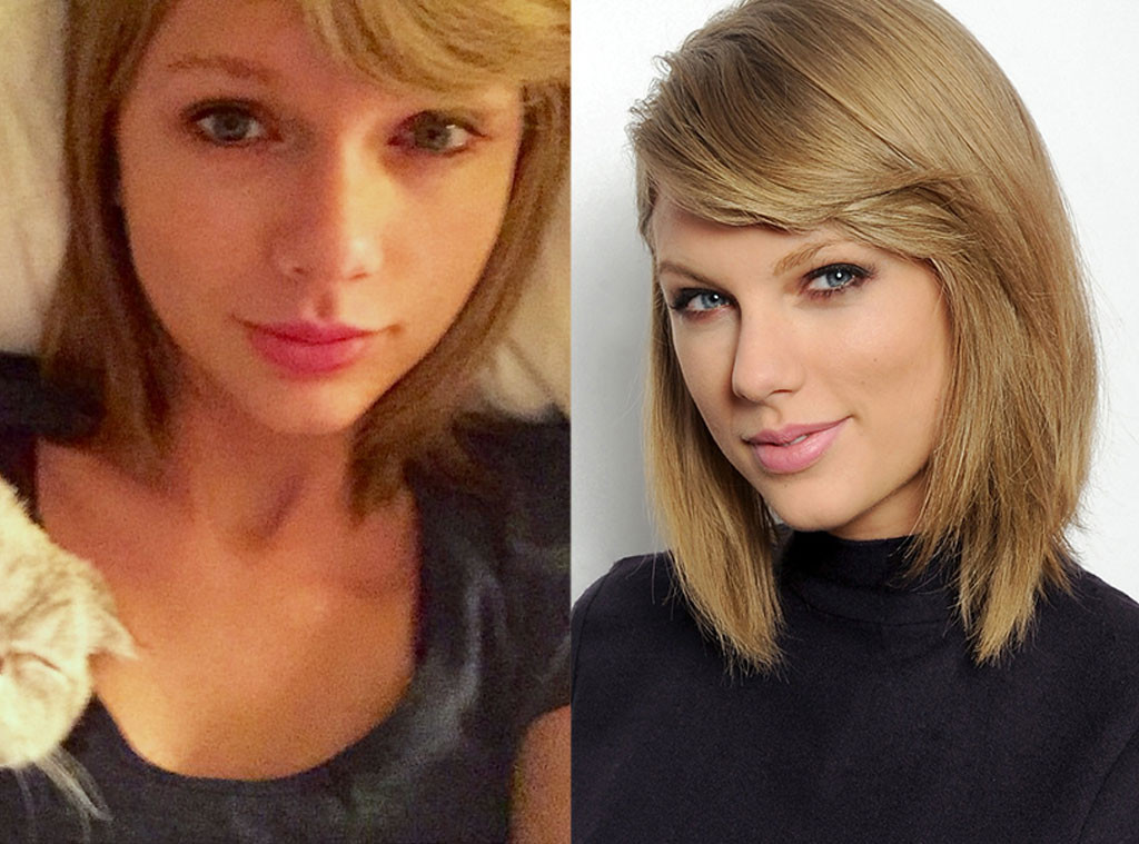 Image result for Taylor Swift) with and with out make up